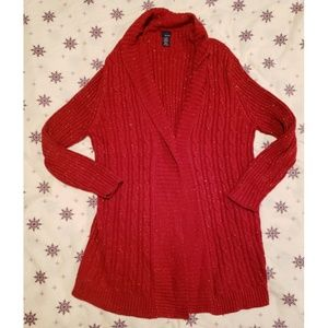 Basic Editions red with gold cable knit duster